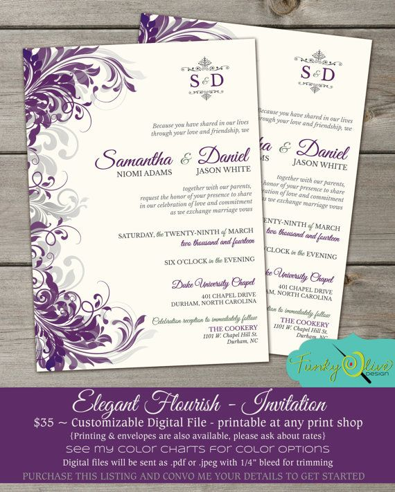 Purple Amp Gray Flourish Wedding Invitation Shower Rehearsal Dinner Birthday Elegant
