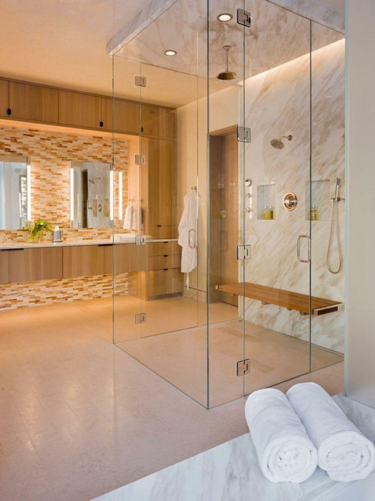 Wohnideen Fur Badezimmer Warm Atmosphaere Dusche Glas Marmor Badezimmer Badezimmer Renovieren Duschwand Glas