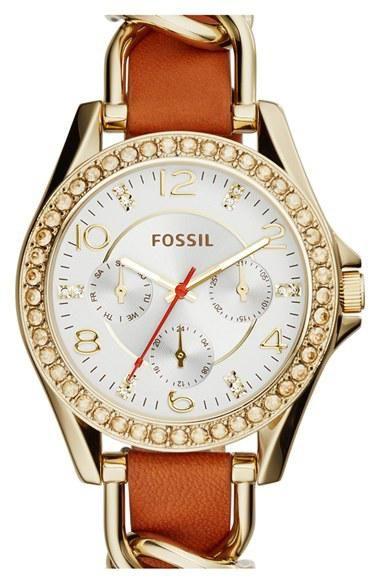 Women's Fossil 'Riley' Crystal Bezel Leather Strap Watch, 38mm - Tan/ Gold