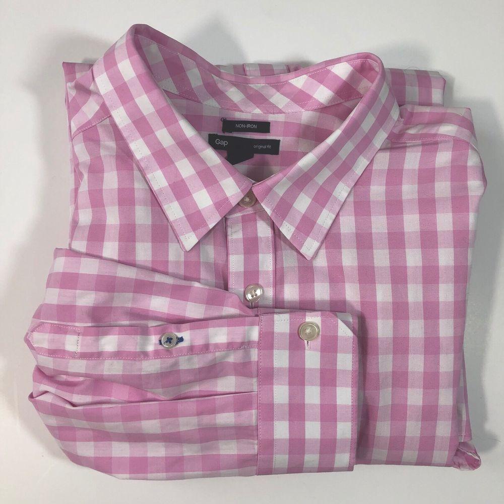 acf4b42fc39 GAP Men s Button Up Shirt Pink White Check Non-Iron Long Sleeves Size XL 17