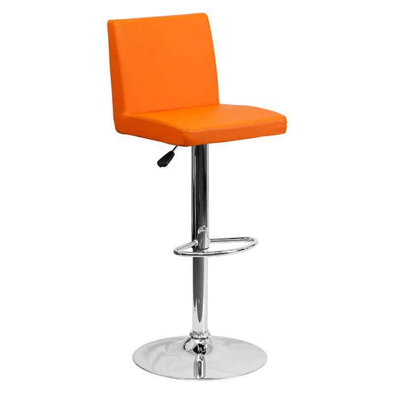 Flash Furniture Contemporary Mid-Back Adjustable Vinyl Bar Stool with Chrome Base