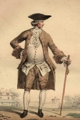 An affluent member of the bourgeoisie, with his cane, breeches and tricorn hat