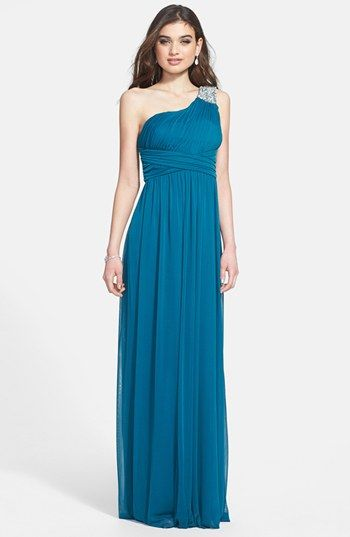 98 Way In Embellished One Shoulder Mesh Gown Juniors Available At