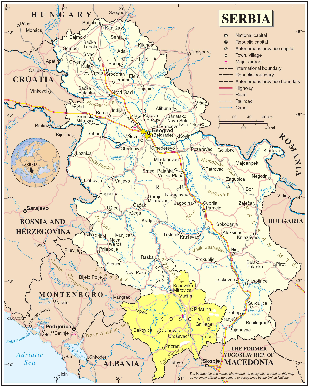 karta srbije i crne gore GEOGRAFSKA KARTA SRBIJE | Serbia | Pinterest karta srbije i crne gore