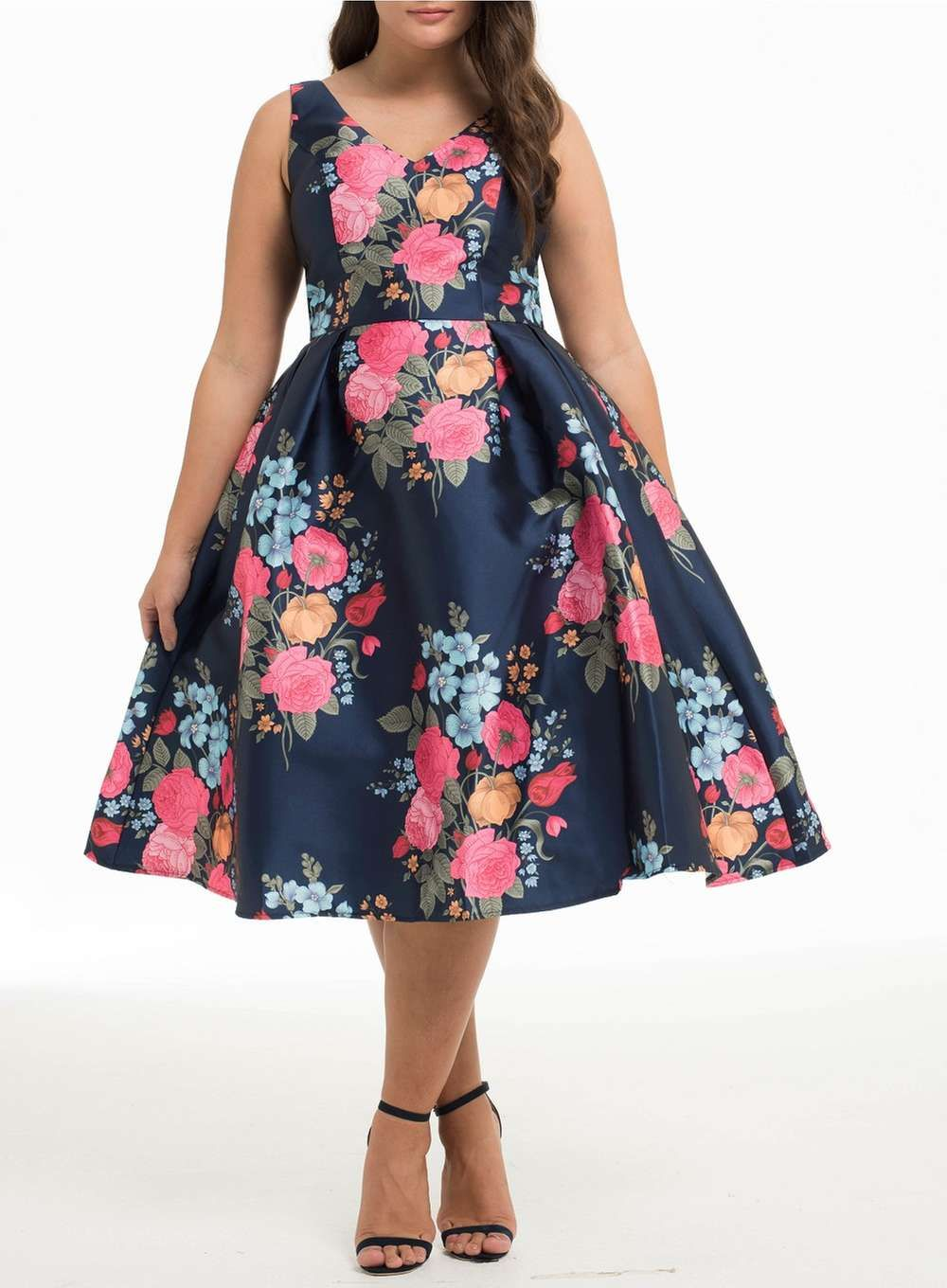 7d673cca6bb0 Chi Chi London Curve Navy Floral Dress