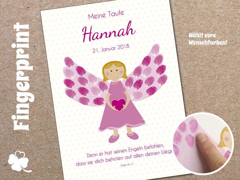 fingerprintgästeplakat taufe engel mädchen personalisiert