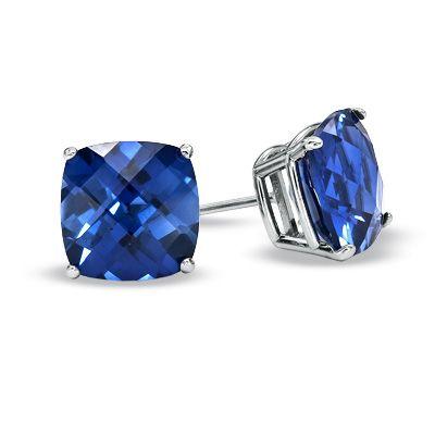 Want 8 0mm Cushion Cut Lab Created Blue Sapphire Stud