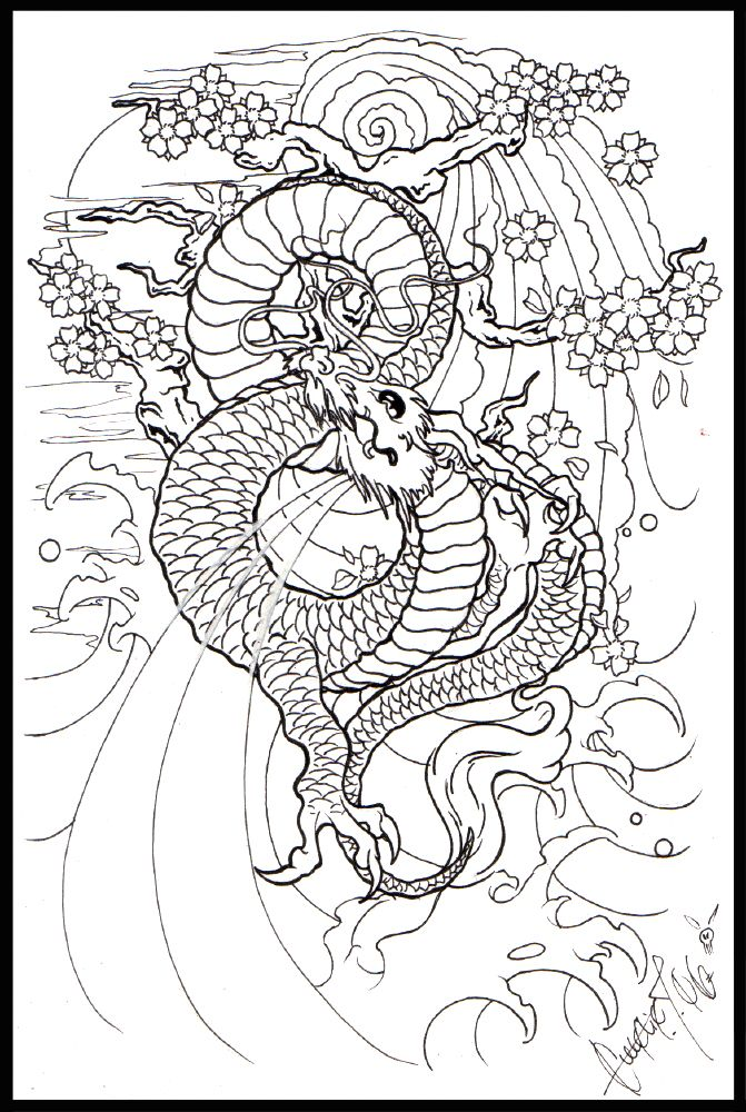 Moon dragon japanees lineart