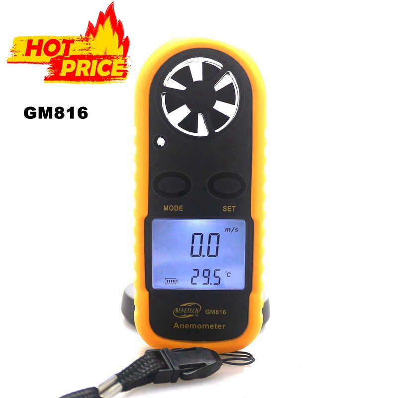 GM816 Mini Digitale Anemometer Wind & Temperatuur Meter Tester Anemometro met LCD Backlight Display