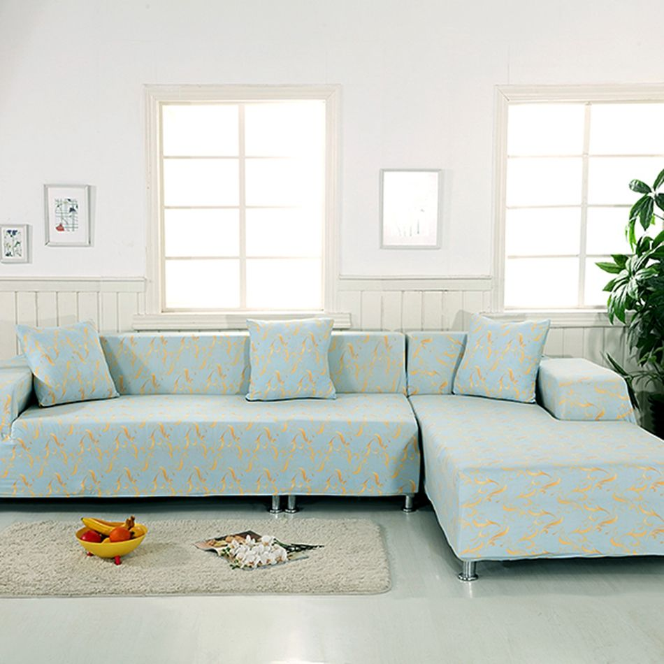 100 Polyester L Shape Sofa Covers For Living Room 2pcs Universal