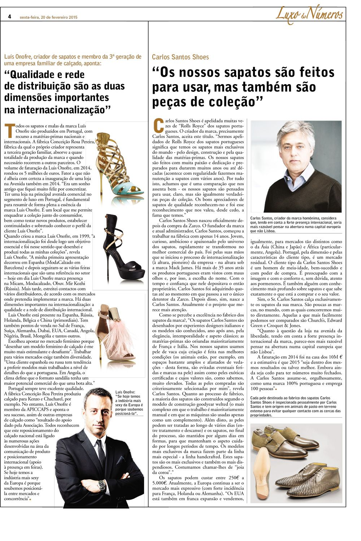 Carlos Santos na rubrica Luxos&Números do Jornal Vida Económica.  Carlos Santos in Luxos&Números section of the Vida Económica Journal.