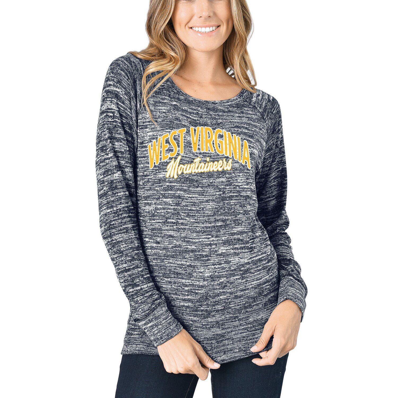 Women's Heathered Navy West Virginia Mountaineers Carefree French Terry Pullover Sweatshirt #westvirginia