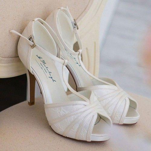 c63ff0f1bc8ec Chaussure mariage ivoire en dentelle à bout ouvert talon 11 cm - Scarlett -  Westerleigh