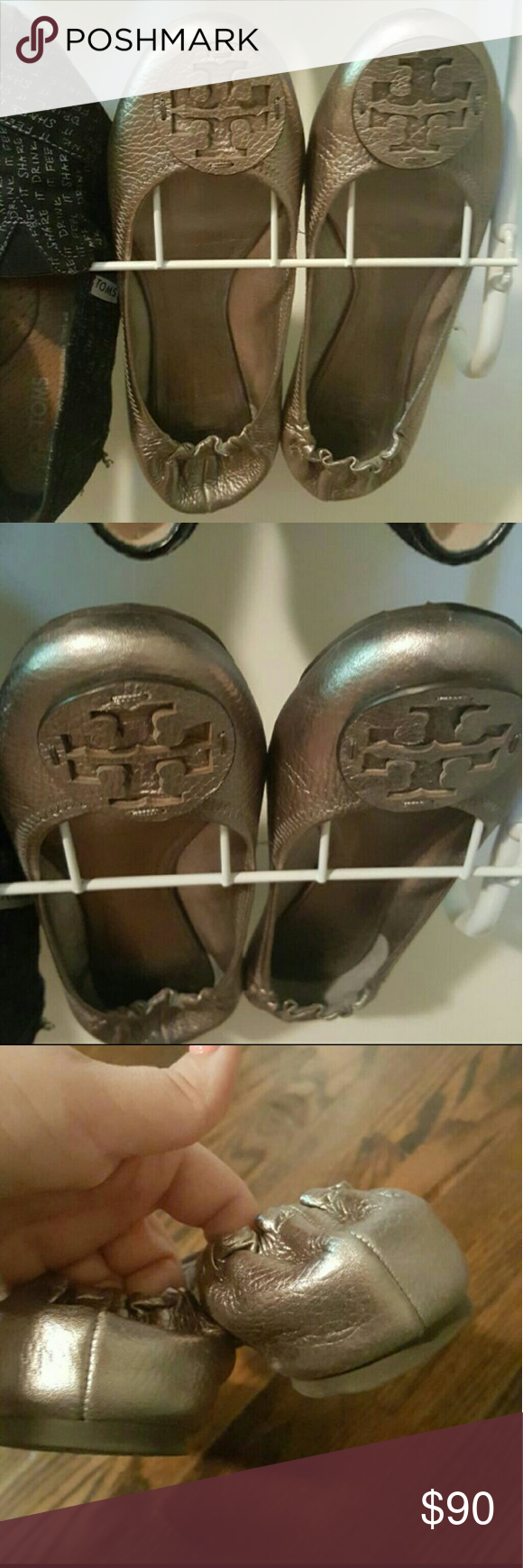 Pewter Reva Flata Worn 1-2 times.  I just find myself wearing my tan ones more.  These run small so they fit a size 9 best. Tory Burch Shoes Flats & Loafers