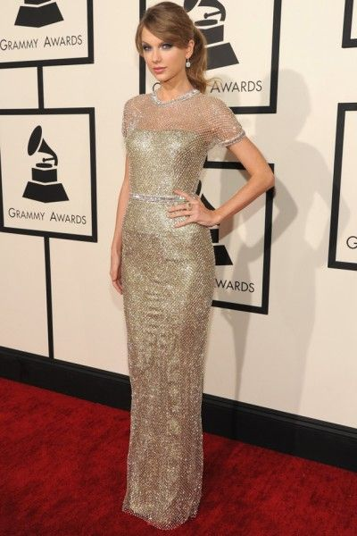 Taylor Swift de Gucci no Grammy, no começo de 2014.
