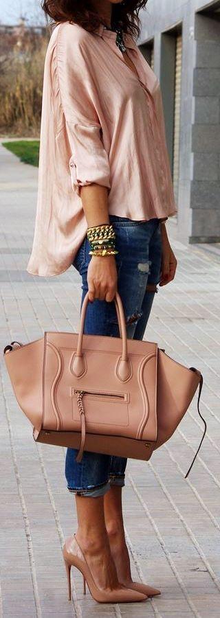 Soft Pink and Denim, a perfect match
