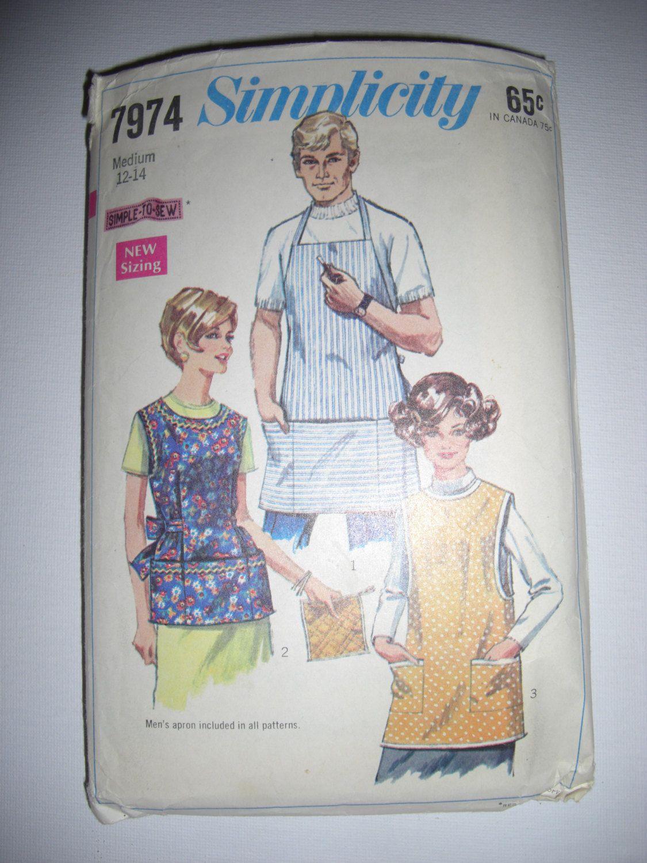 Vintage Apron Sewing Pattern Simplicity 7974 Men\'s/Women\'s | Vintage ...