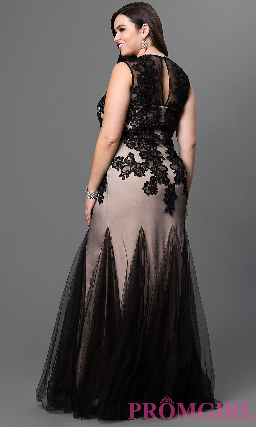 394c7ca2c41 Image of long black and nude sleeveless lace embroidered tulle dress with  key hole cut out scoop neck bodice Back Image