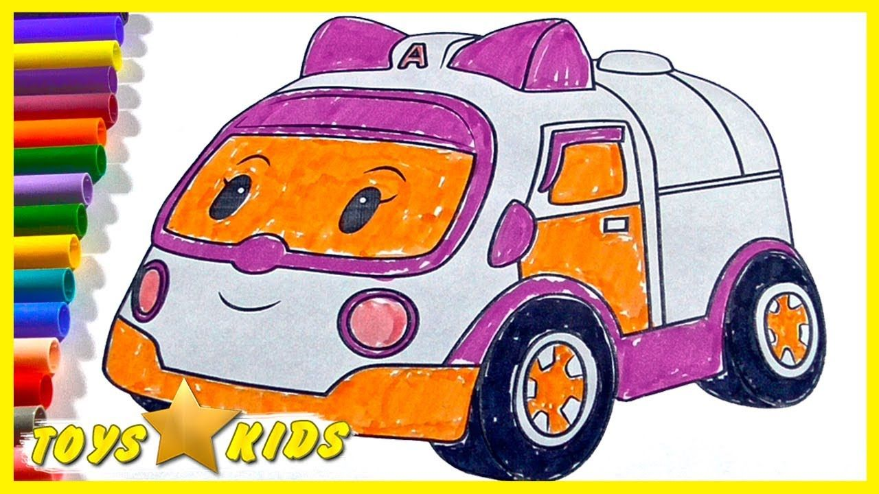 Robocar Poli - How to Draw Amber Ambulance Coloring Page Color ...