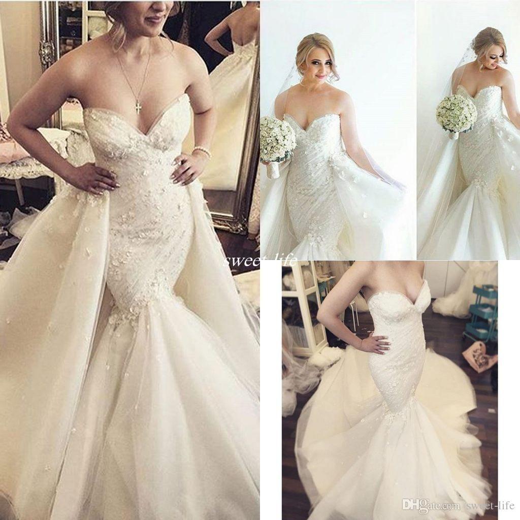 Royal 2017 Mermaid Wedding Dresses with Detachable Skirt