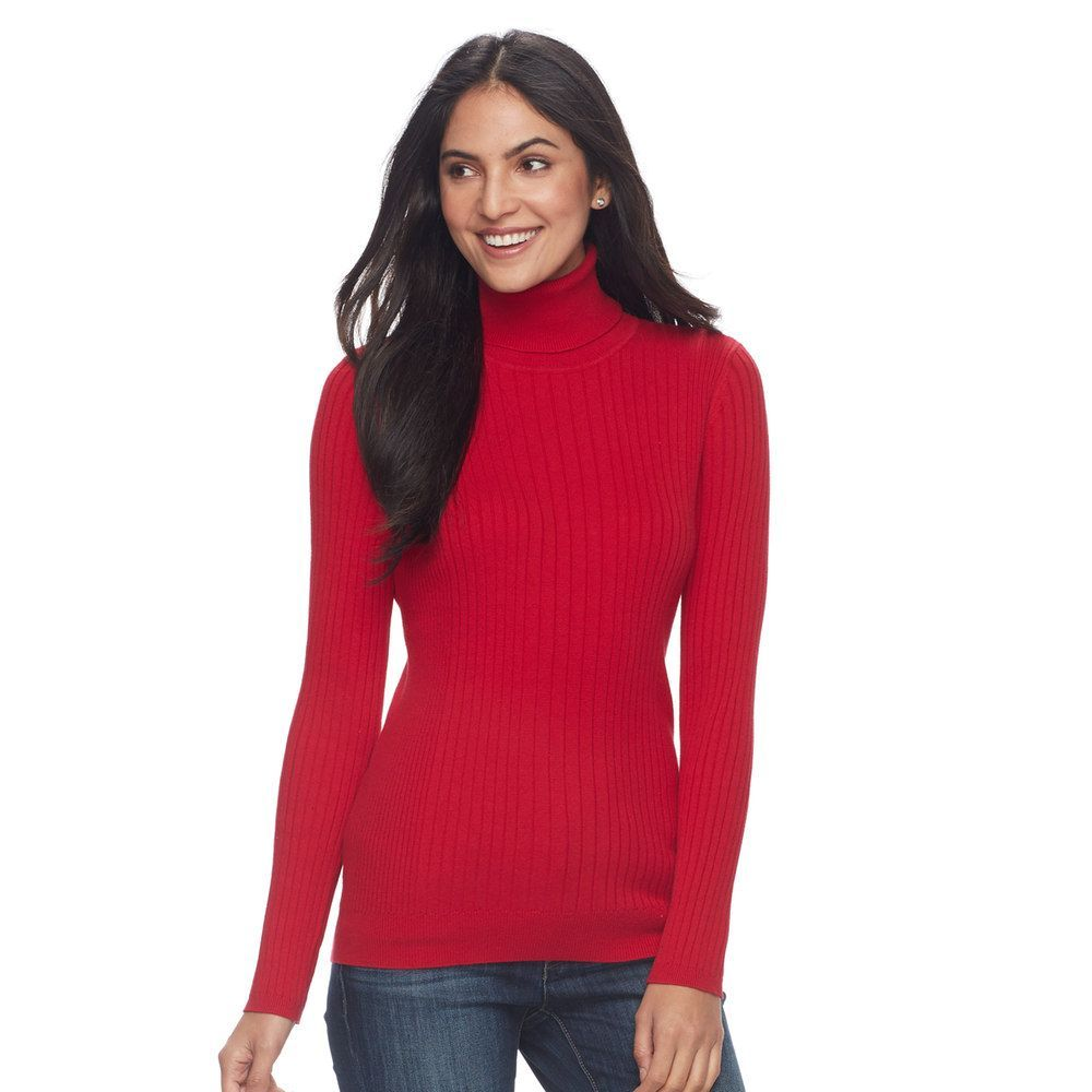 Women's Croft & Barrow® Essential Ribbed Turtleneck Sweater, Size ...