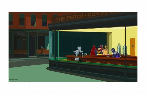 Hawkgirl, Nighthawk, Darkhawk and Shadowhawk in 'Nighthawks'