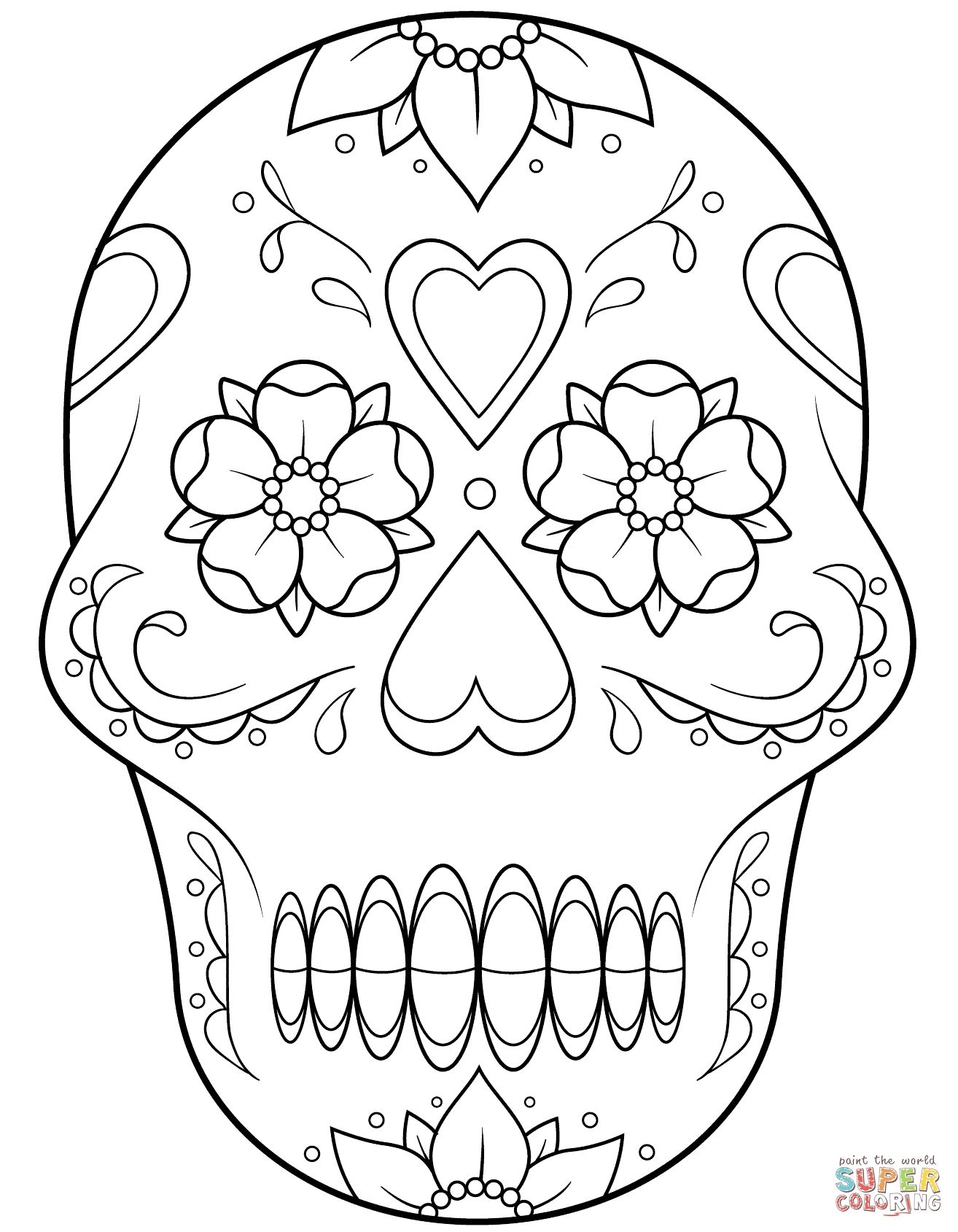 Cool Skulls Of Simple Sugar Skull Coloring Pages Collection Skull Coloring Pages Heart Coloring Pages Coloring Pages