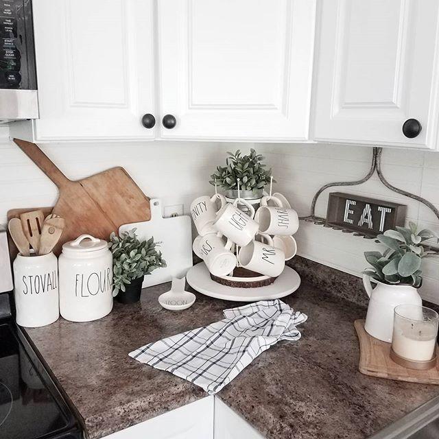 Rae Dunn | Farmhouse kitchen | farmhouse decor | old rake @chels.tre ...