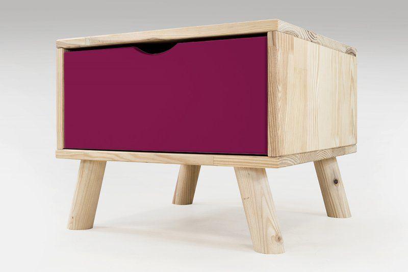 Chevet Viking style scandinave bois + tiroir bois naturel vernis et