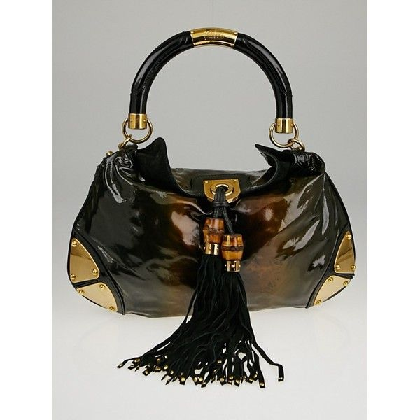 Pre-owned Gucci Black Ombre Glitter Patent Leather Medium Babouska... (€600) ❤ liked on Polyvore featuring bags, handbags, top handle handbags, top handle purse, bamboo handle bag, gucci handbags and patent handbags