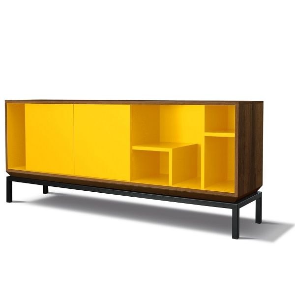 Meuble Bas Design MY CITY Noyer/Jaune - Miiing - konceptdesign.fr ...