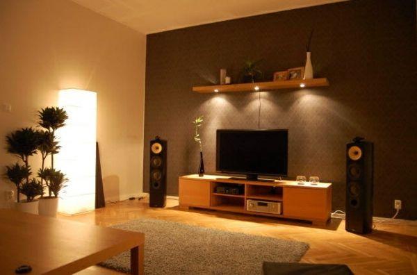 wohnzimmer orange streichen, wandgestaltung im wohnzimmer - schöne beleuchtung - weiches teppich, Design ideen