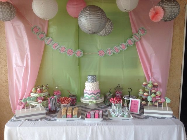 Pink Mint Gray Chevron Baby Shower Party Ideas Baby Shower