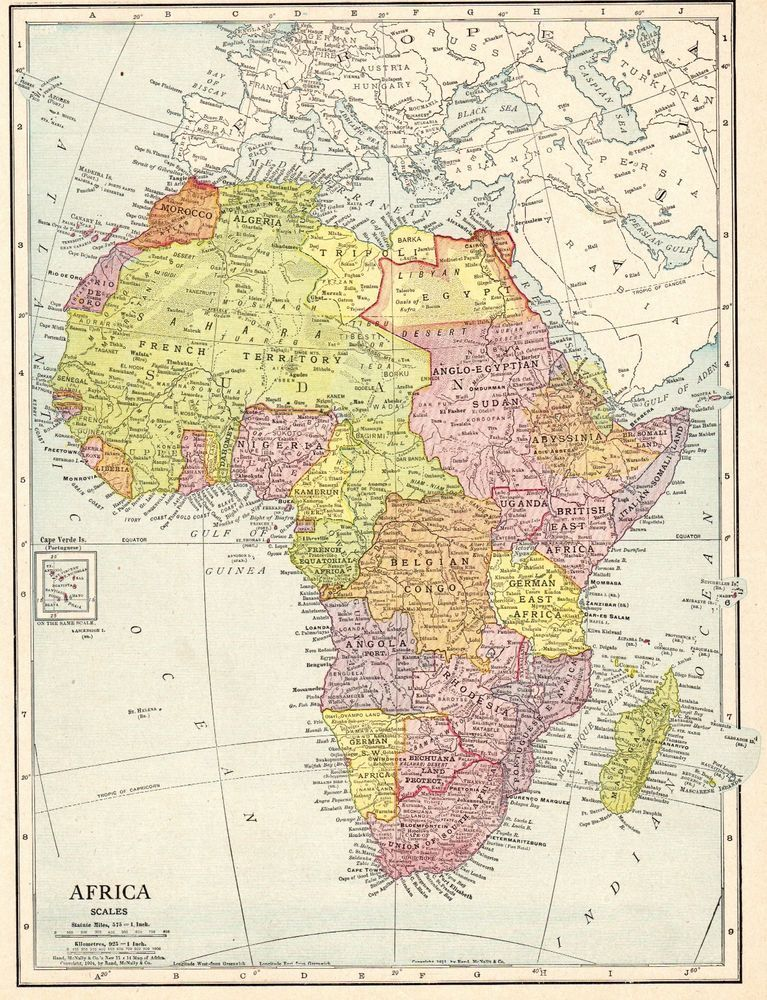 1913 Antique AFRICA Map Beautiful Original Vintage Map of Africa ...