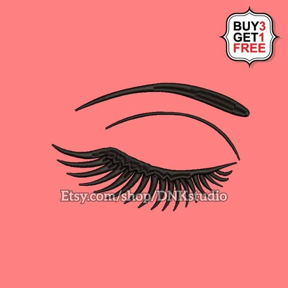 Eyelash Eye Embroidery Design