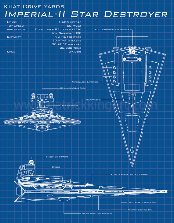 Star Wars Imperial Star Destroyer Schematic Art Print - TIE Fighter Tie Fighter Schematic on tie advanced, tie phantom, y-wing schematic,