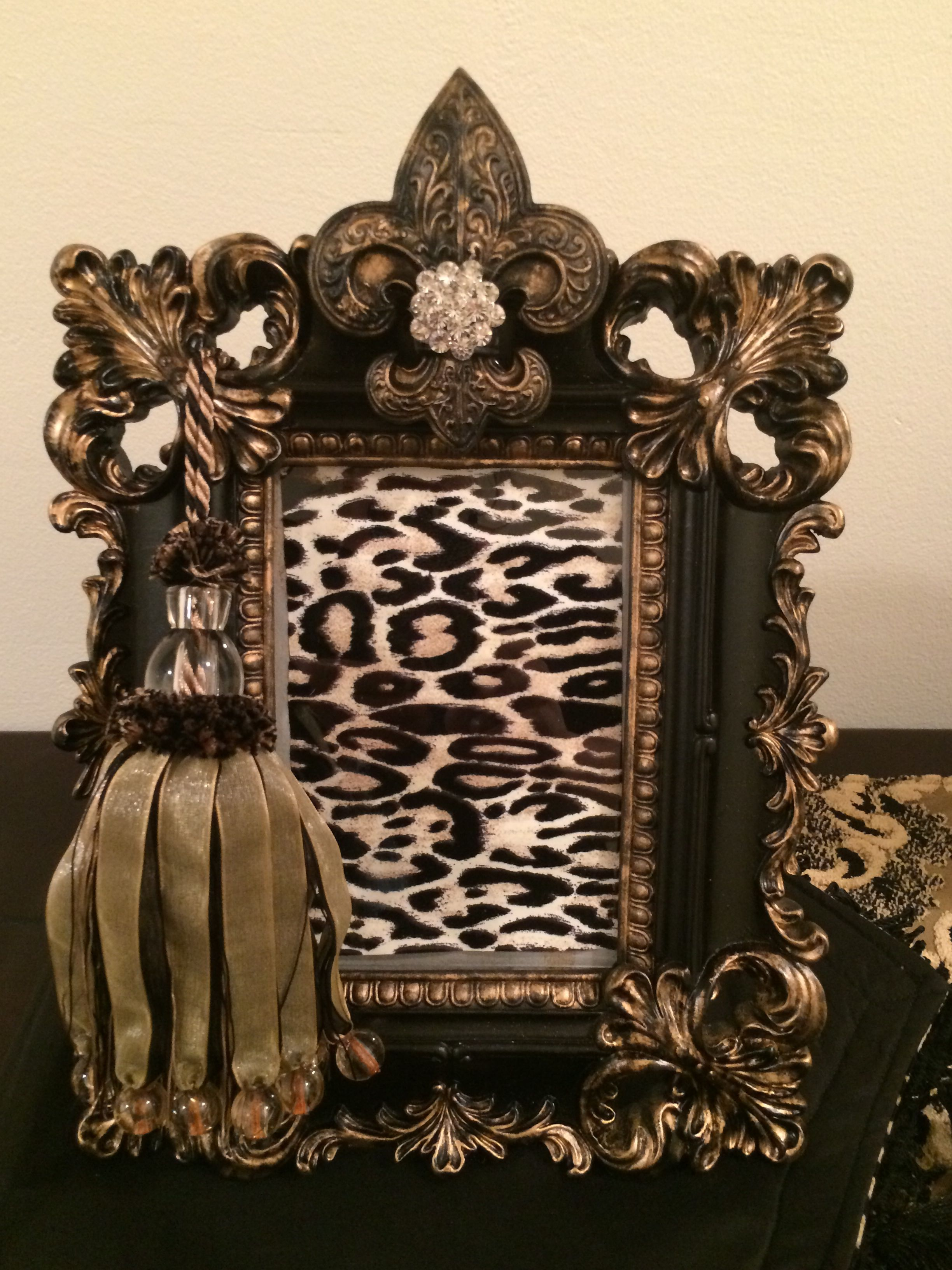 Black And Gold Ornate Frame With A Tassel And Crystals Jessicas