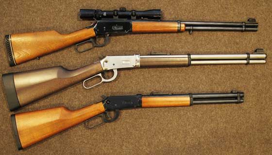 Winchester model 94 at top, Walther's new Lever Action rifle