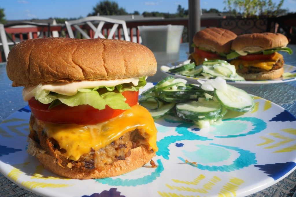 Southwest Black Bean Sweet Potato Burgers with Buffalo Mayo | Busy Girl Healthy World