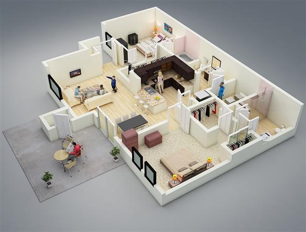 25 Model 3d Rumah Apartemen 2 Kamar Tidur Denah Rumah Rumah Minimalis Rumah