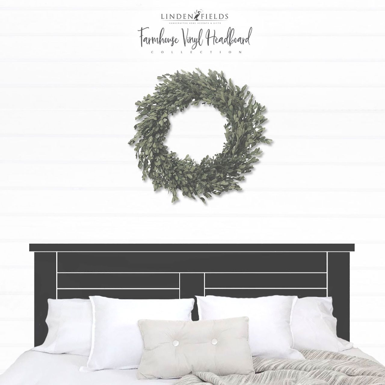 Wood Headboard Decal  Farmhouse Style Farmhouse Bedroom Decor King Headboard