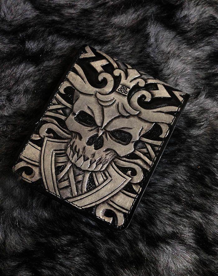 Twin Skull mens Slim fit bifold biker wallet  genuine leather handmade BS01