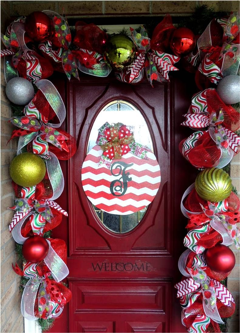 Front door deco mesh christmas decorations - Christmas Decor Mesh Garland With Initial Wreath
