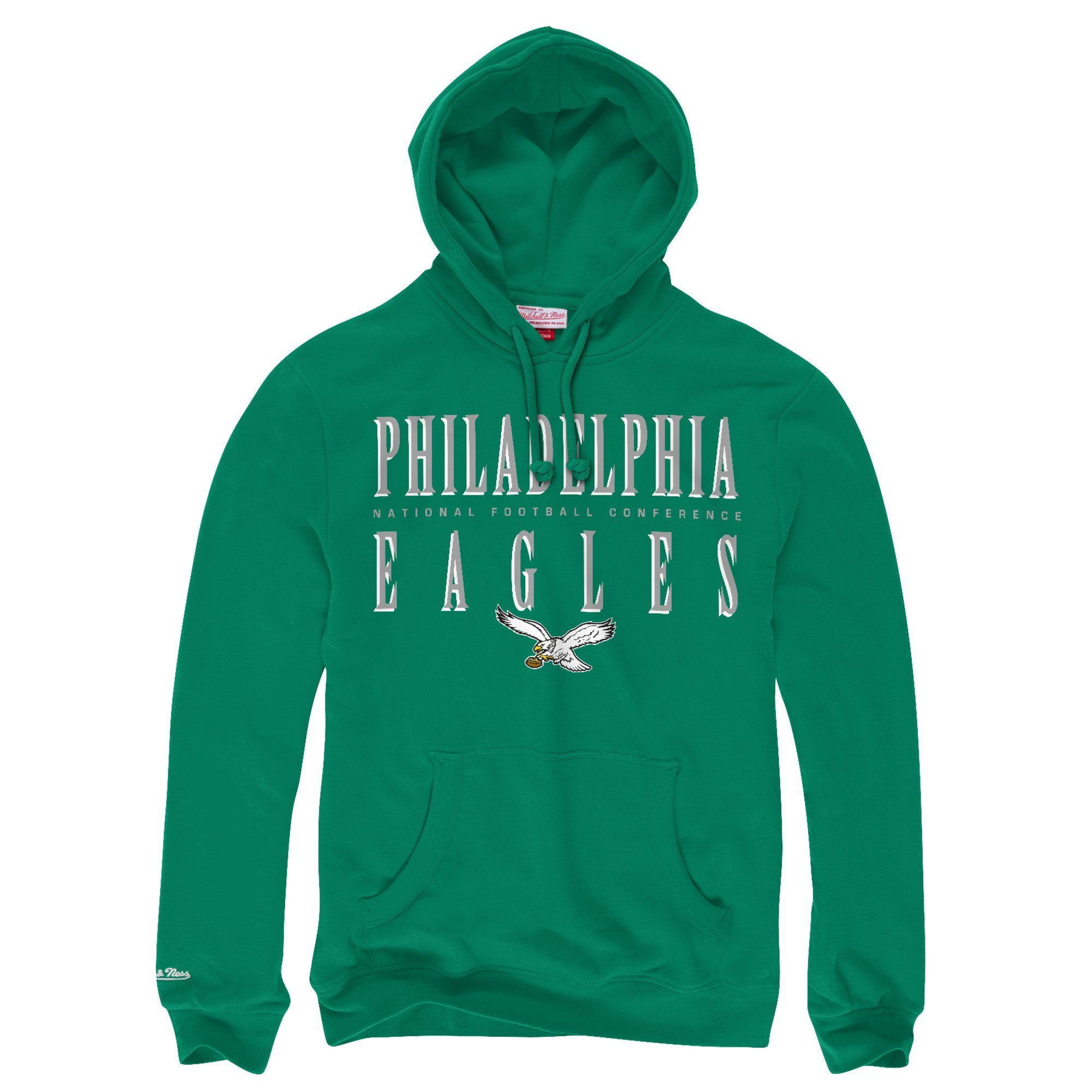 Philadelphia Eagles Kelly Green Vintage Mitchell and Ness Pullover Hoodie