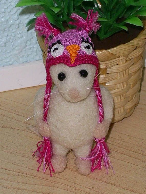 Sale...Sale...Sale...Ten Dollars Off  OOAK Needle Felted Mouse In Adoable Hat Toy For Blythe And All Other Dolls Or For Miniature Collectors