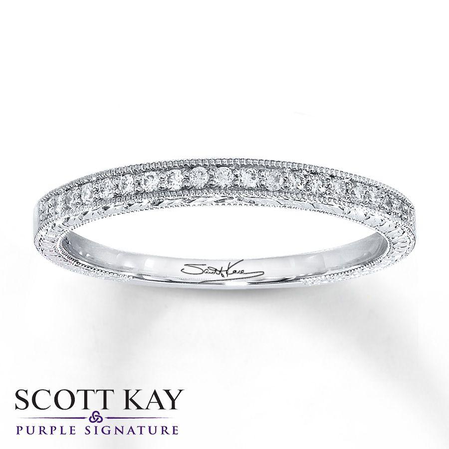 Scott Kay Band 1 10 Ct Tw Diamonds 14k White Gold Diamond White Gold Scott Kay Jewelry