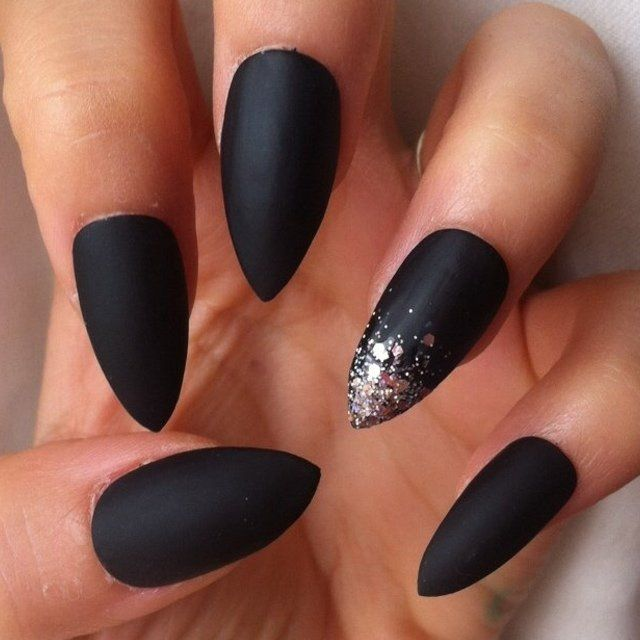 Black Matte Stiletto Nail Designs Nailshairmakeup Tatts Polyvore And Stiletto Nails M Black Nails With Glitter Stiletto Nails Designs Matte Stiletto Nails