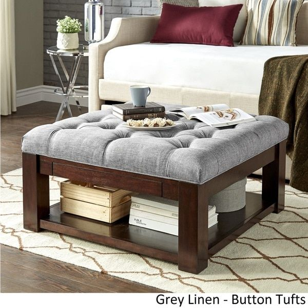 Lennon Espresso Square Storage Ottoman Coffee Table By Tribecca Home Dark Brown Pu Dimpled Tufts