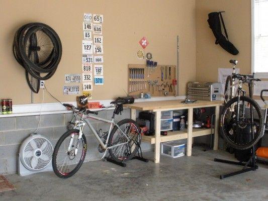 How To Set Up A Home Bike Shop For Every Space And Budget Singletracks Mountain Bike News Garage Bike Bike Shop Bike Rack Garage