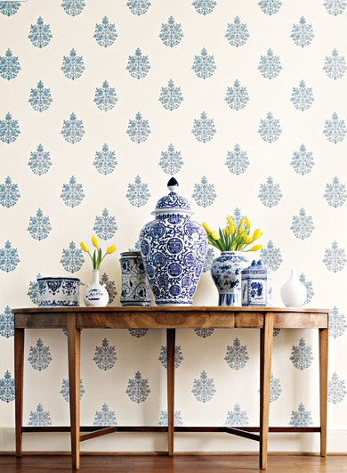 Orc Week 2 Blue And White Paisley Wall Classic Casual Home Medallion Wallpaper Decor Blue And White China